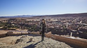 Japanese tourist around a kasbah in Morocco